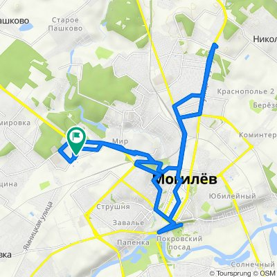 От улица Алексея Пысина 31, Могилёв до улица Алексея Пысина 31, Могилёв