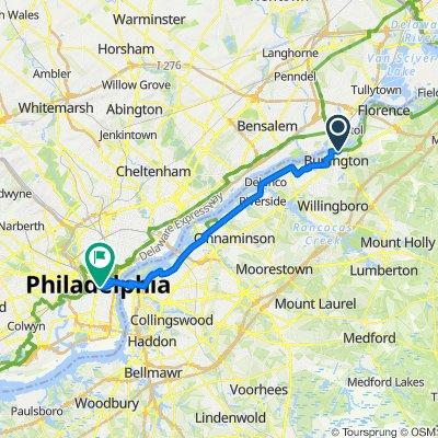 12 W Pearl St, Burlington to 1209–1293 Chestnut St, Philadelphia