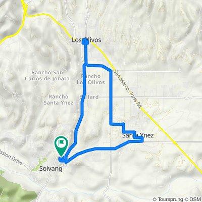 687 Hillside Dr, Solvang to 682 Hillside Dr, Solvang