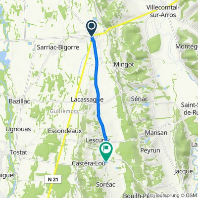De 1 Place Centrale, Rabastens-de-Bigorre à 12 Route du Tourtou, Castéra-Lou