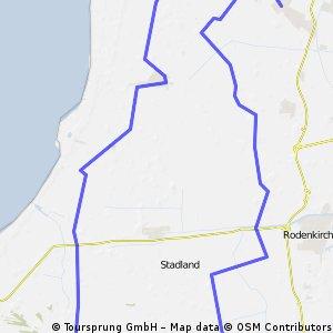 Stollhamm-Seefeld-Reitland-Rönnelmoor, dann Costa Granata ( Schlussstück ), in Abbehausen zum Bäcker und dann nach Stollhamm zurück