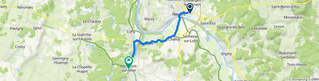 De Rue des Vignes 9, Nevers à Le Bourg 13, Apremont-sur-Allier