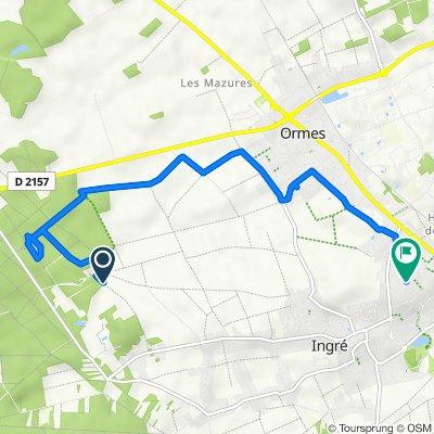 De Chemin de la Canaudière Ingré, Ormes à 13 Place des Morantes, Ingré