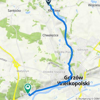 Zacisze 4, Kłodawa do Husarska 11, Gorzów Wielkopolski