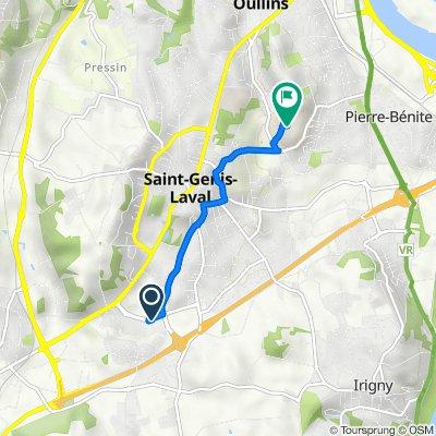 De 44 Avenue Charles de Gaulle, Saint-Genis-Laval à 152–165 Chemin du Grand Revoyet, Pierre-Bénite