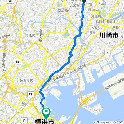 214, Shimohirama, Saiwai, Kawasaki to Aioicho-dori Street, Naka, Yokohama