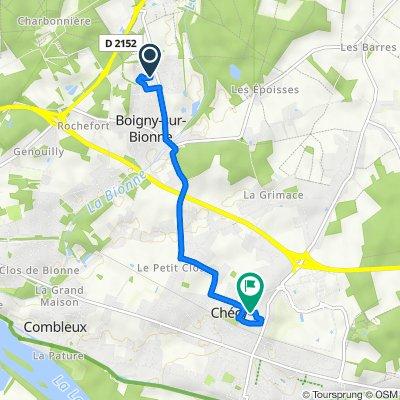 De Rue du Coteau 7, Boigny-sur-Bionne à Rue de la Cheville 28, Chécy