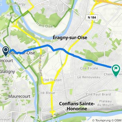 De Avenue des Saules Brûlés, Jouy-le-Moutier à 10B Rue Henri Spysschaert, Conflans-Sainte-Honorine