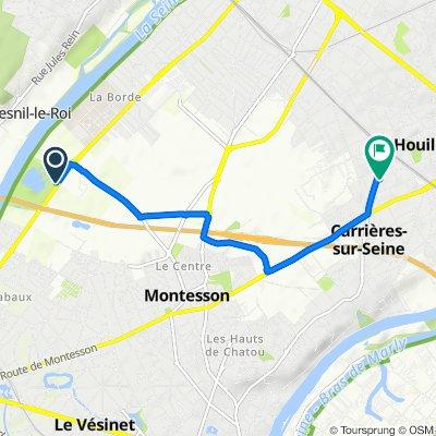 De Avenue Gabriel Péri, Montesson à 12 Chemin des Carrières, Houilles