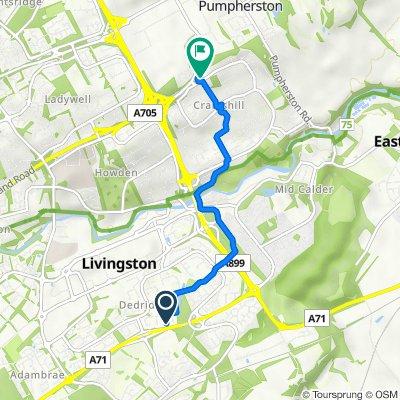 113 Norman Rise, Livingston to Fire Station, Craigshill Road, Livingston
