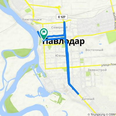 От улица Академика Сатпаева, Павлодар до улица Кривенко, Павлодар