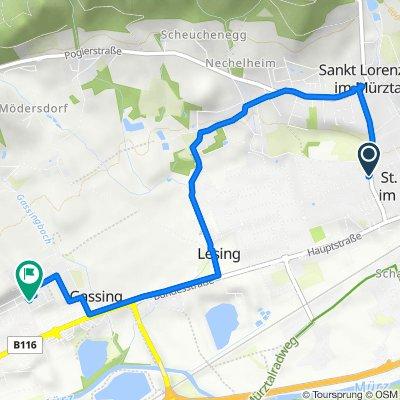 Hauptstraße 36, Sankt Lorenzen im Mürztal nach Doktor-Alfons-Gorbach-Hof 6, Kapfenberg