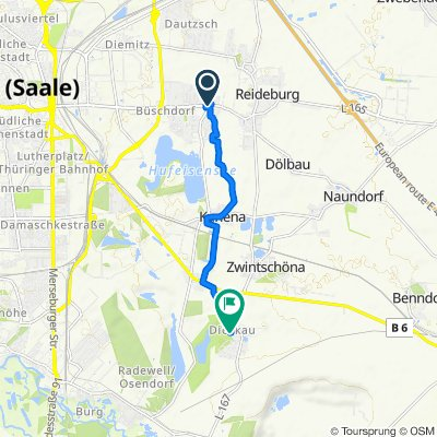 Delitzscher Straße 170, Halle (Saale) to Schloßplatz 10, Kabelsketal