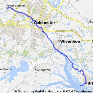 West Bergholt --> Colchester --> Wivenhoe --> Brightlingsea (via Wivenhoe trail)