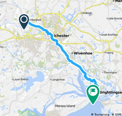 West Bergholt --> Colchester --> Wivenhoe --> Brightlingsea (via Wivenhoe trail)