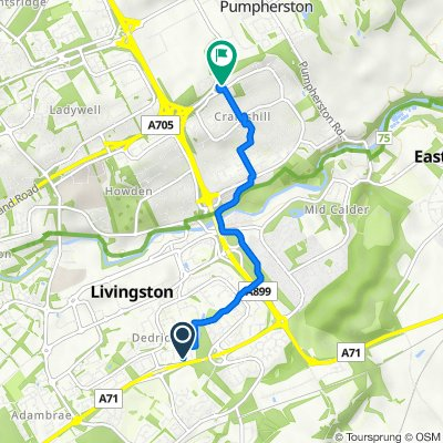 114 Norman Rise, Livingston to Fire Station, Craigshill Road, Livingston