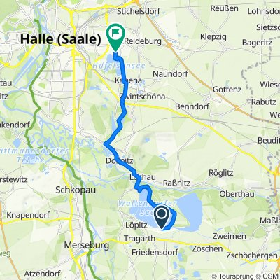 Route nach Maikäferweg 9, Halle (Saale)