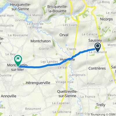 De 3 Chemin du Bas de Saussey, Saussey à 1–5 Rue Pierre des Touches, Montmartin-sur-Mer