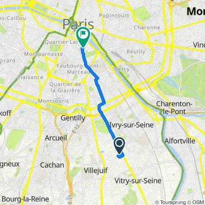De 2F Allée des Champs Fleuris, Vitry-sur-Seine à 1–9 Place Jussieu, Paris