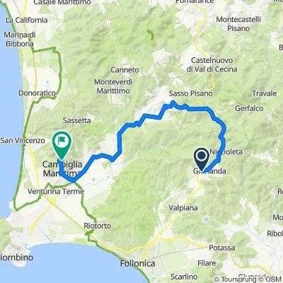 6 - Bike Road - Blue - (Massa Marittima) Ghirlanda - Monterotondo - Frassine - Suvereto - Campiglia Ma/ma - Museo della Miniera di San Silvestro -
