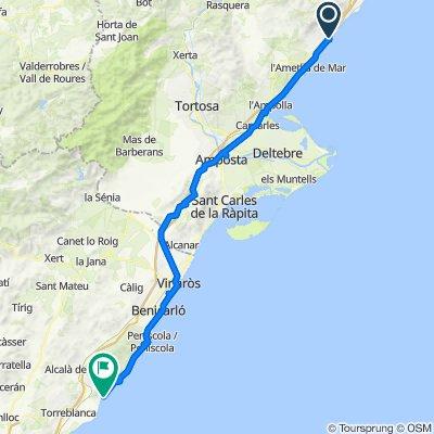 Carretera del Càmping, Vandellòs i l'Hospitalet de l'Infant nach Paseo Marítimo, Alcalà de Xivert