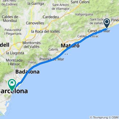 Barcelona to San Pol de Mar