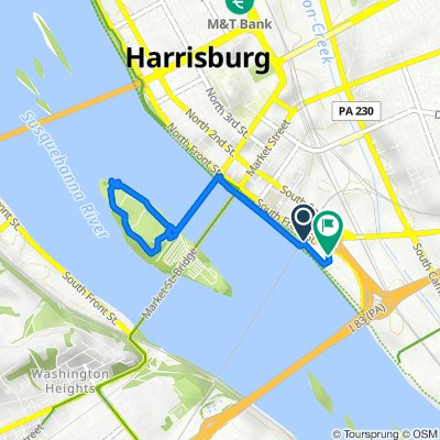 Route from 440–442 S Front St, Harrisburg
