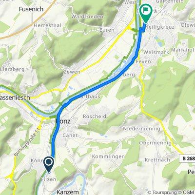 Maximinerstraße 22, Konz nach Töpferstraße 38, Trier