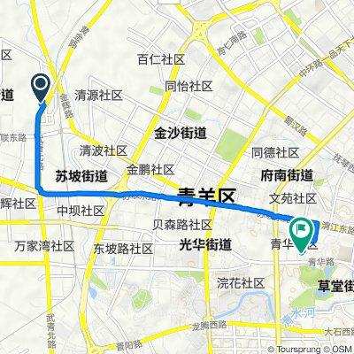 Route from Xijin Yuan D Unit No.71, Chengdu