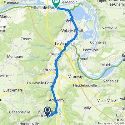 De Chemin des Moulins 20, Amfreville-sur-Iton à Route de l'Eure 42, Les Damps