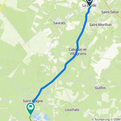 Itinéraire à partir de 1 Avenue de la Blancherie, La Brède