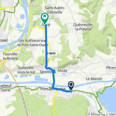 De Route de l'Eure 42, Les Damps à Rue des Canadiens 497, Gouy
