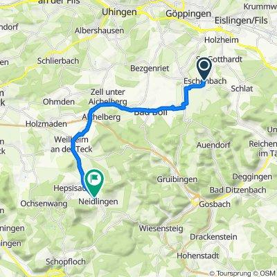 Frühlingstraße 1/1, Eschenbach nach Weilheimer Straße 32–36, Neidlingen