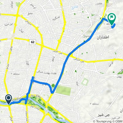 Route from پل خواجو, اصفهان
