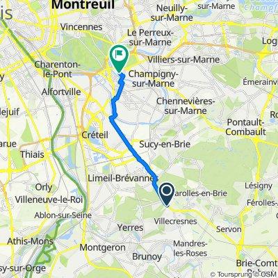 De Avenue du Maréchal de Lattre de Tassigny, Boissy-Saint-Léger à 18B Avenue du Président Wilson, Joinville-le-Pont
