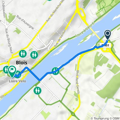 De D951, Vineuil à 2 Rampe des Fossés du Château, Blois