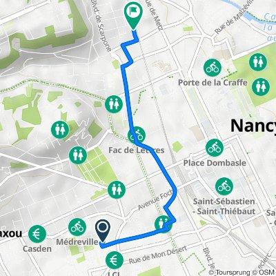 De 20 Rue Madame de Vannoz, Nancy à 15 Quai Ligier Richier, Nancy