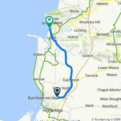 Route to Marine Parade, Weston-Super-Mare