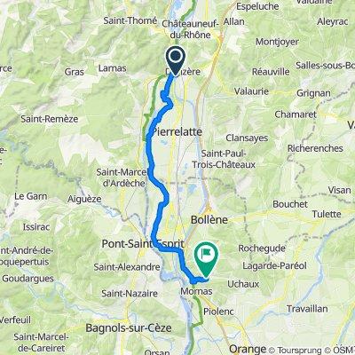 De Route des Barrages, Donzère à Chemin de Condi, Mornas