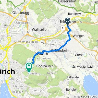 Haldenstrasse 15, Wangen-Brüttisellen nach Adlisbergstrasse 36, Zürich