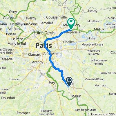 De Route des Poiriers, Réau à 1 Rue des Merisiers, Villeparisis
