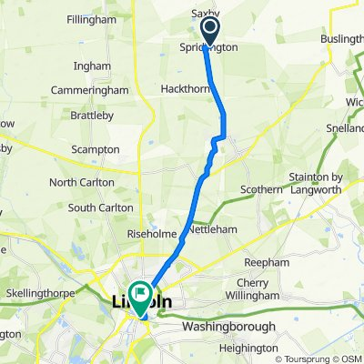 Route from Owmby Road, Spridlington, Market Rasen