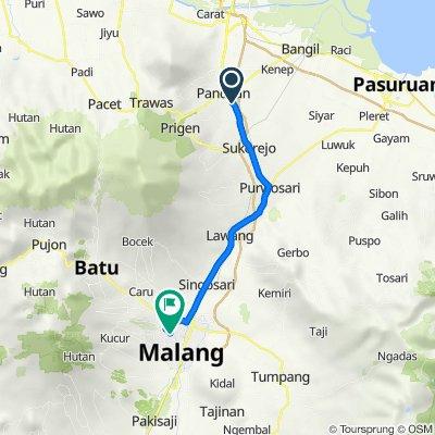Kali Tengah, Kecamatan Pandaan to Jalan Mayjend Panjaitan 117, Kecamatan Klojen