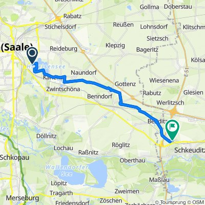 Krienitzweg 6–8a, Halle (Saale) nach S8a, Schkeuditz