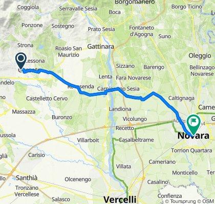 Da Via Chiosazzo, Cerreto Castello a Via Fratelli Rosselli 1/C, Novara