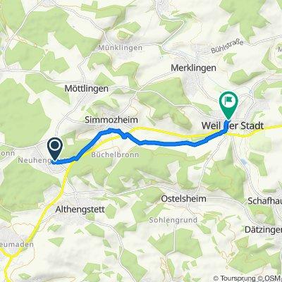 От Kreuzweg 4, Althengstett до Stadtgarten, Вайль-дер-Штадт