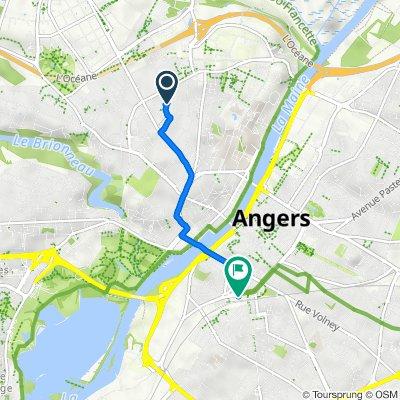 De 10 Rue Jean Cousin, Angers à Place de la Gare, Angers