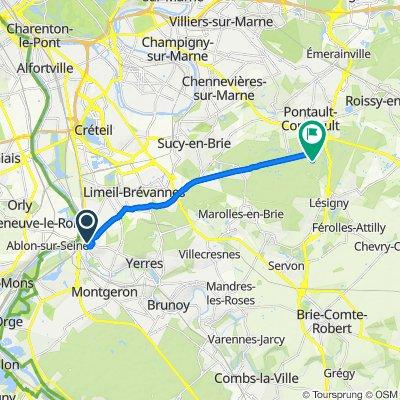 De 15 Allée Beauséjour, Villeneuve-Saint-Georges à Allée Jacquette, La Queue-en-Brie