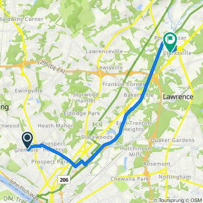 Route from 6–56 Patton Dr, Ewing