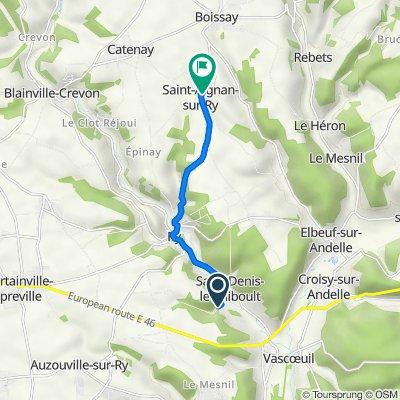 De route du Moulin 509, Saint-Denis-le-Thiboult à Rue Sainte-Anne 237, Saint-Aignan-sur-Ry